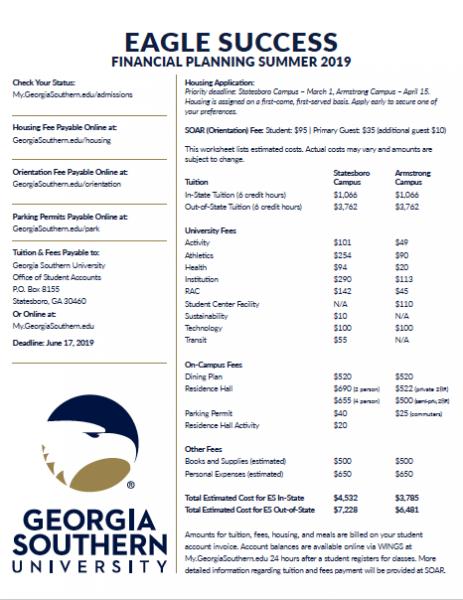 Financial Planning worksheet for Eagle Success