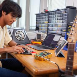 Student and music equipment